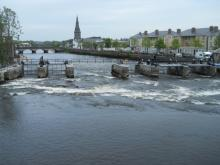 View of the refurbished Ballina Weir, looking upstream on the River Moy